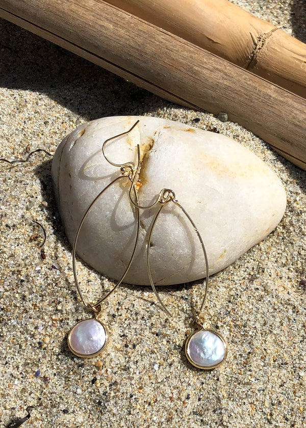 Gold Bezel Pearl Drop Earrings - AMĒNAH