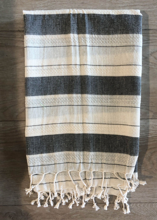 Turkish Towel - Black Stripe - AMĒNAH