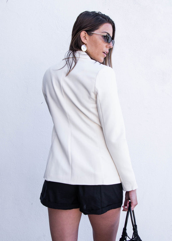 Double Breasted Notched Collar Blazer- Ivory - AMĒNAH