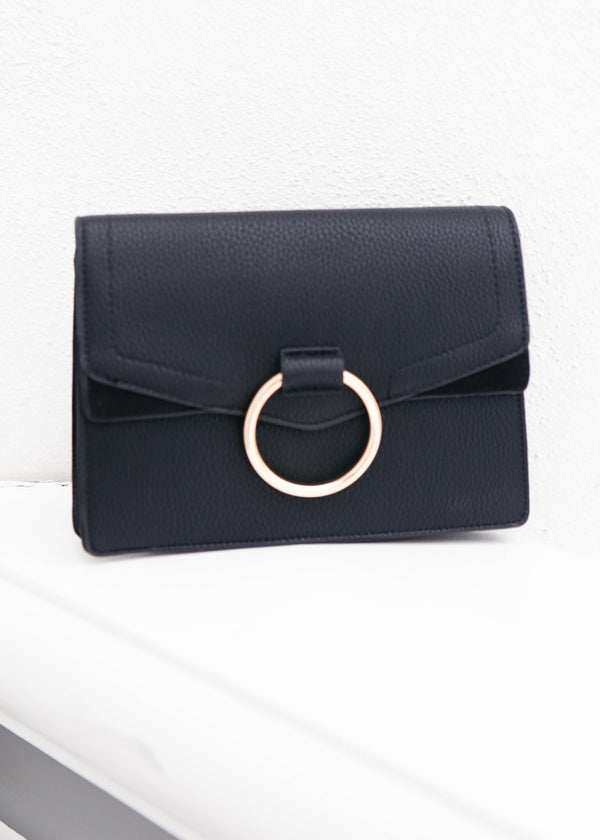 Loop Ring Suede Mini bag- Black - AMĒNAH