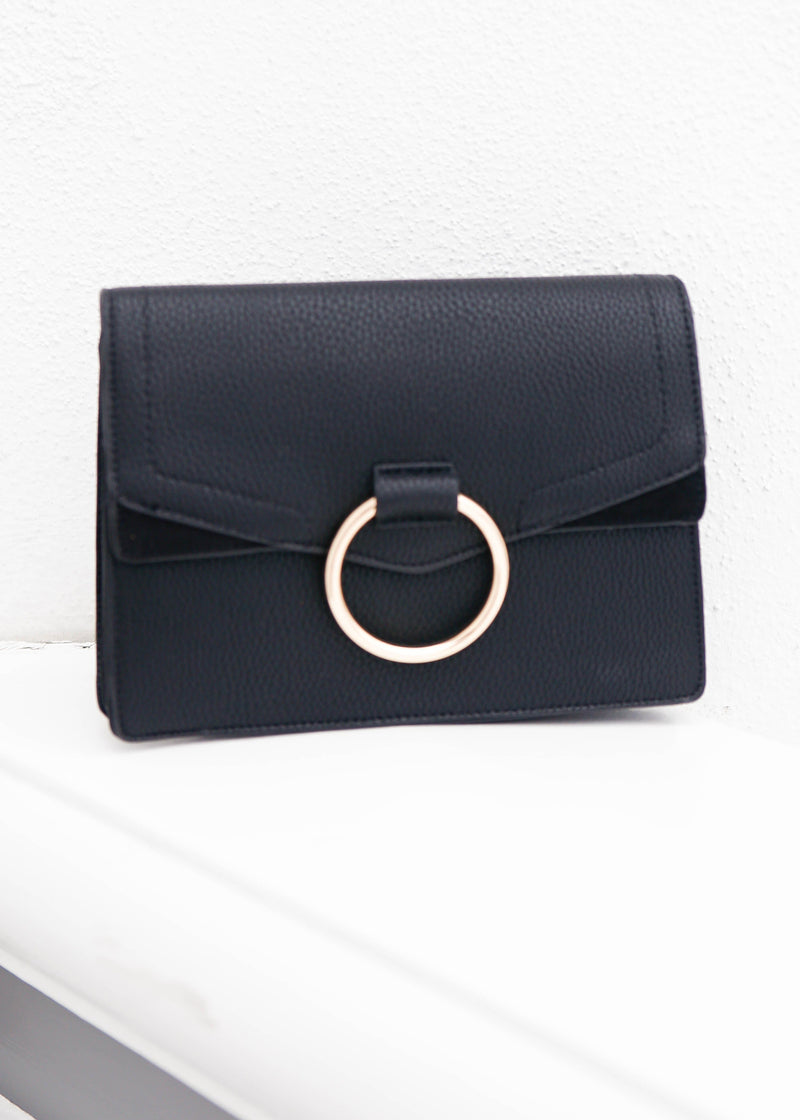 Loop Ring Suede Mini bag- Black