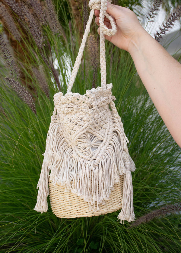 Straw + Macrame Bucket Bag