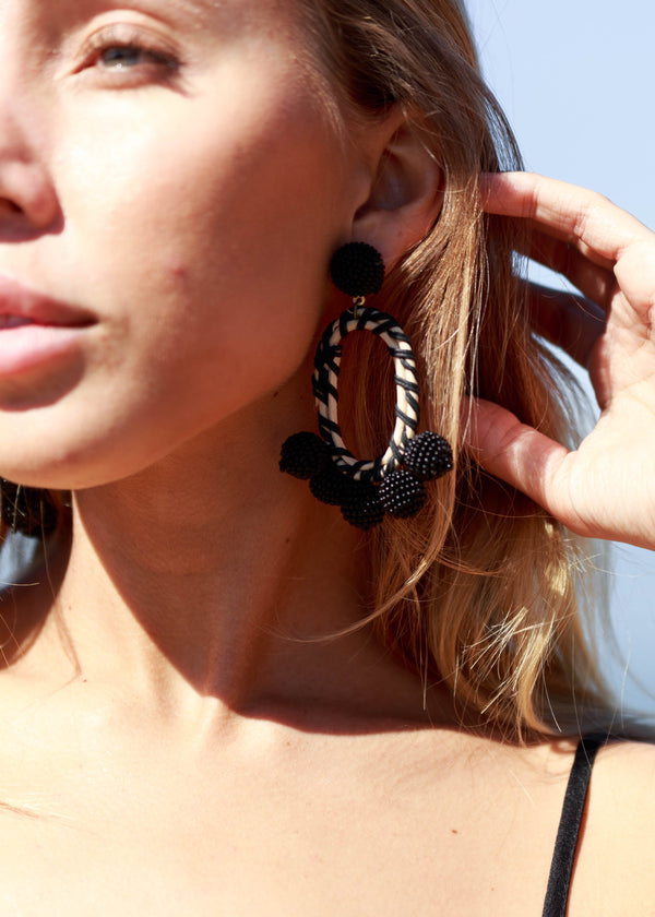 Wicker Beaded Boho Earrings