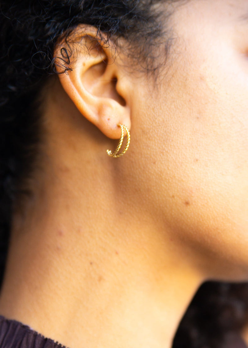Gold Dipped Mini Twist Hoops