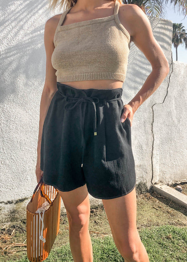 Briar Piped Drawstring Short - Black