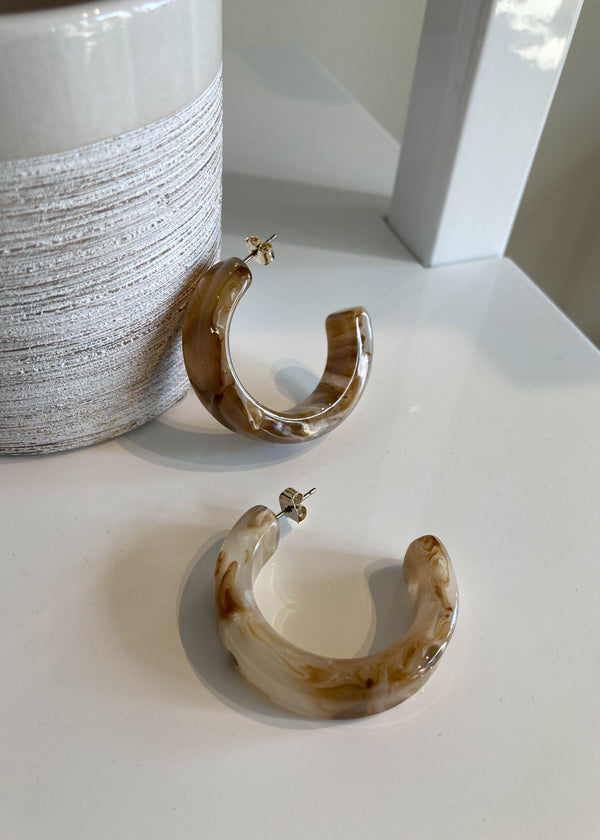 Marbled Resin Thick Hoops