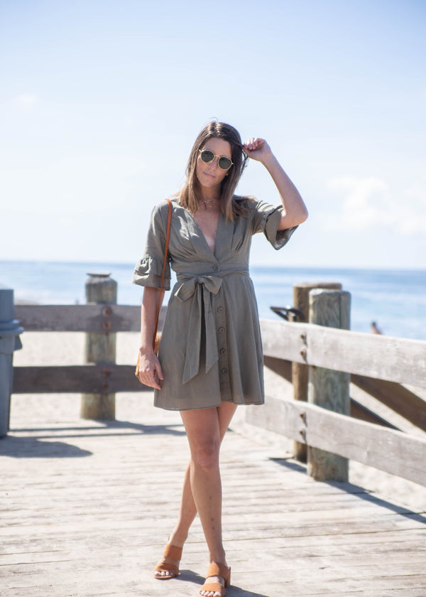 Short Sleeve Fit + Flare Safari Dress - AMĒNAH