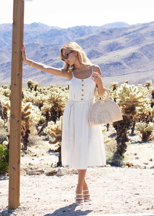 Button Front Sleeveless Midi Dress - Oatmeal - AMĒNAH