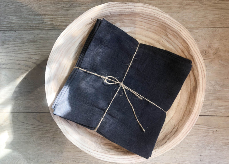 Linen Napkins- Charcoal - Set of 4
