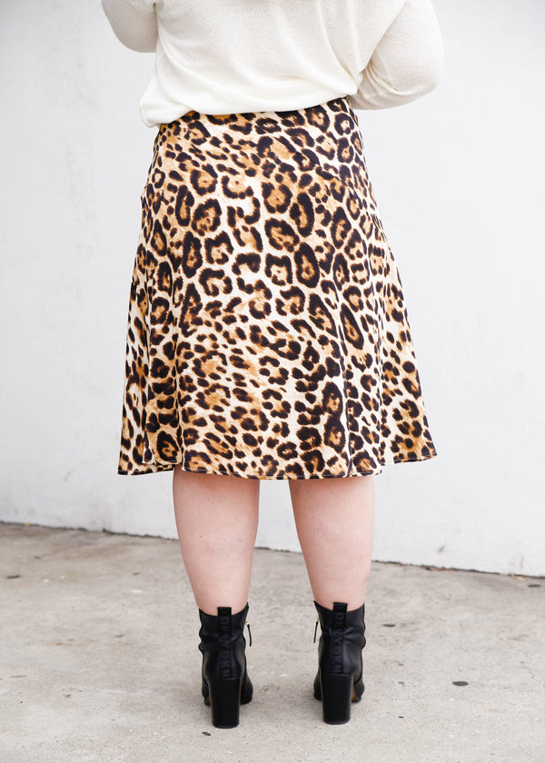 Bias Cheetah Skirt - AMĒNAH
