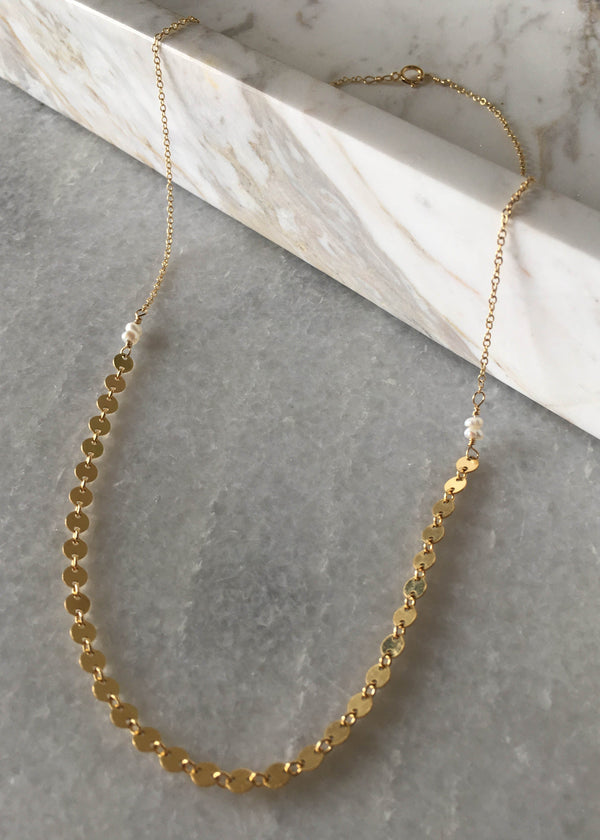 coin link necklace, circle link necklace, gold filled pearl necklace, boho chic jewelry, minimalist jewelry, cute layering necklaces, dainty layering necklaces, dainty 14k gold filled jewelry, 14k gold filled jewelry, summer accessories, gift ideas for her, accessory ideas, cute accessories, accessory trends, summer trends 2019, New arrivals, summer 2019 trends
