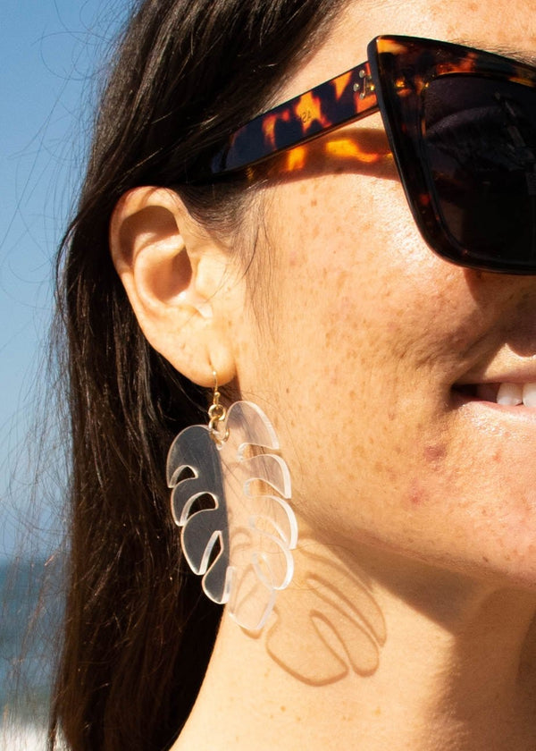 Acrylic Clear Palm Leaf Earrings - AMĒNAH