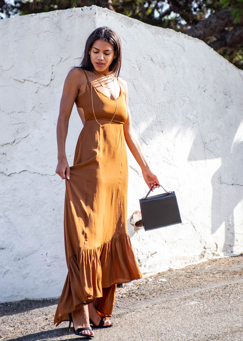 Satin Ruffle Hem Maxi Dress - Copper - AMĒNAH