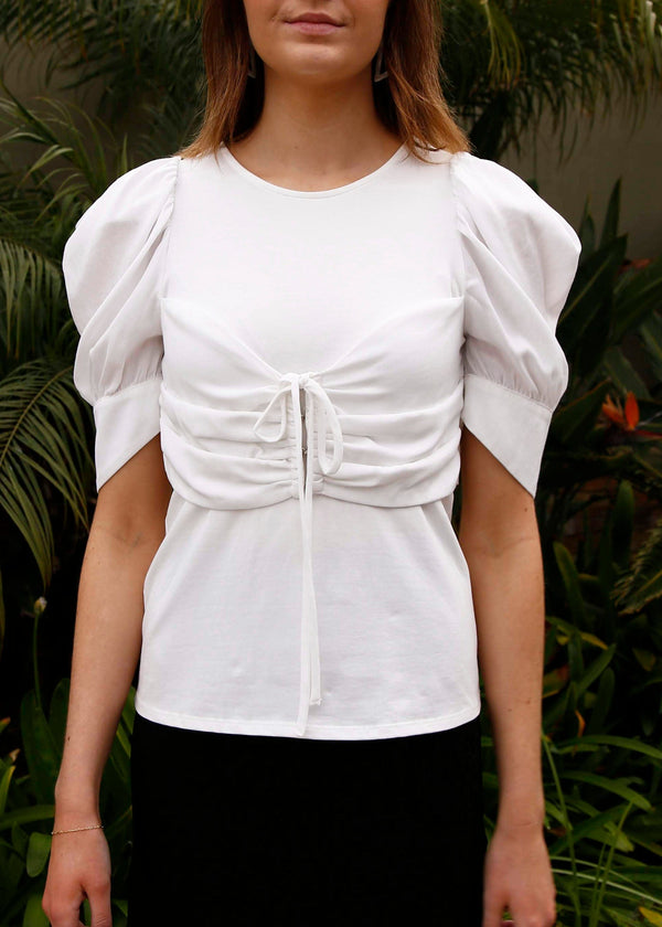 Puff Sleeve Ruched Front Top