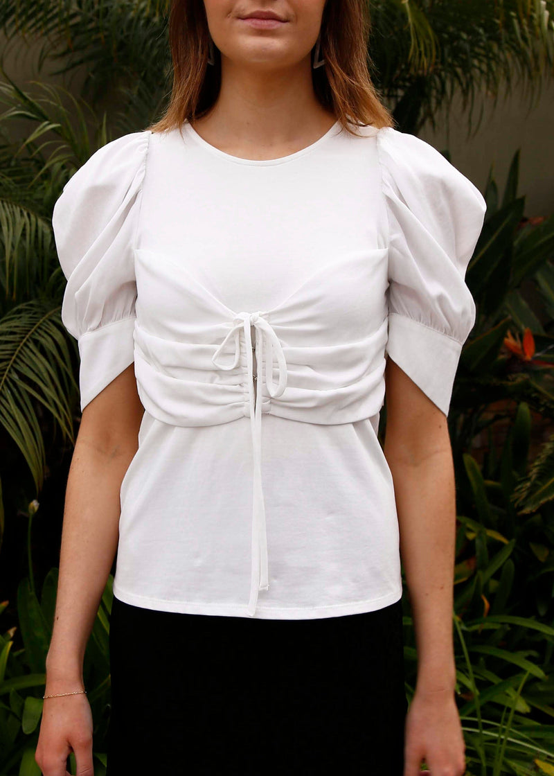 Puff Sleeve Ruched Front Top - AMĒNAH
