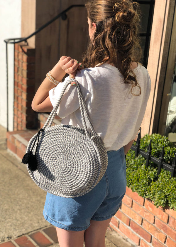 Macrame Cotton Two Tone Circle Bag