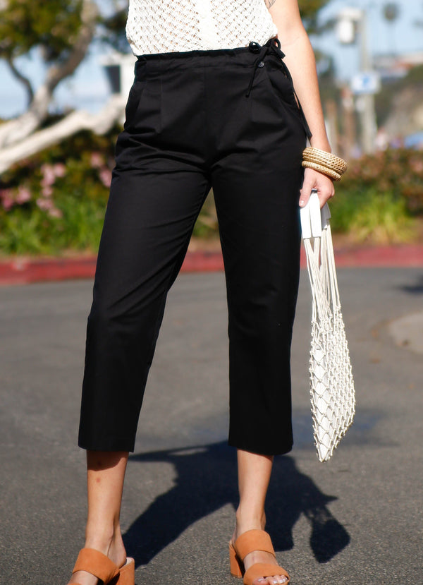 Cotton Side Button Trousers - Black - AMĒNAH