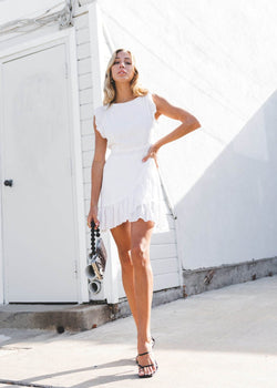 Pinafore Mini Dress - Ivory - AMĒNAH