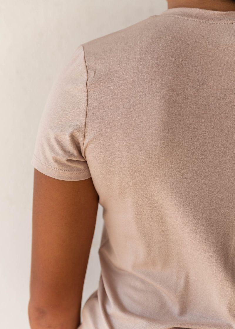 Crepe Fitted Crew Neck Tee- Sand