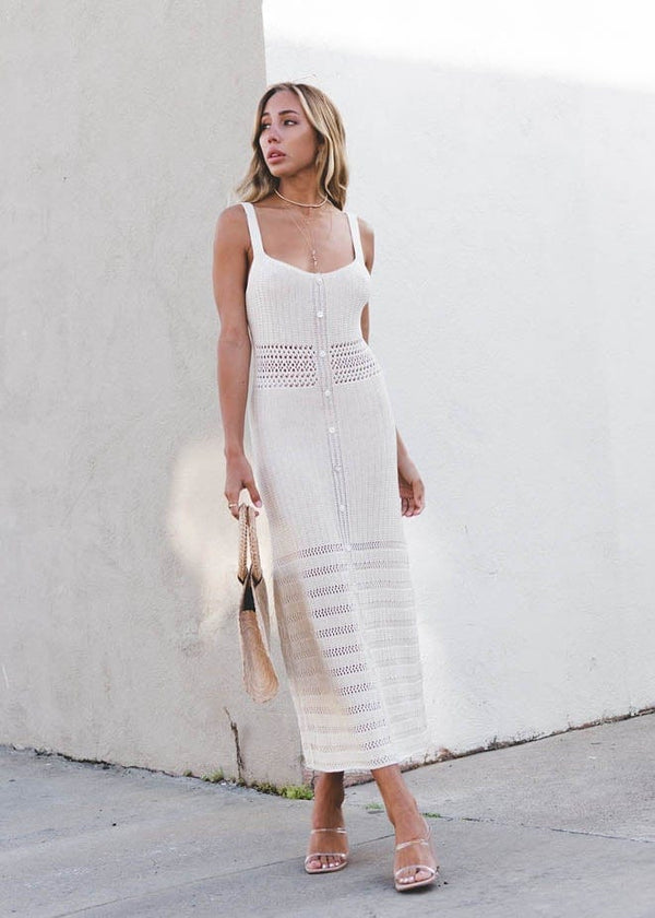 Crochet Button Down Maxi Dress - AMĒNAH