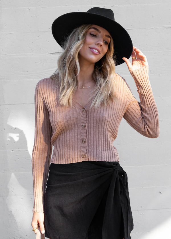Fitted Button Down Crop Cardigan