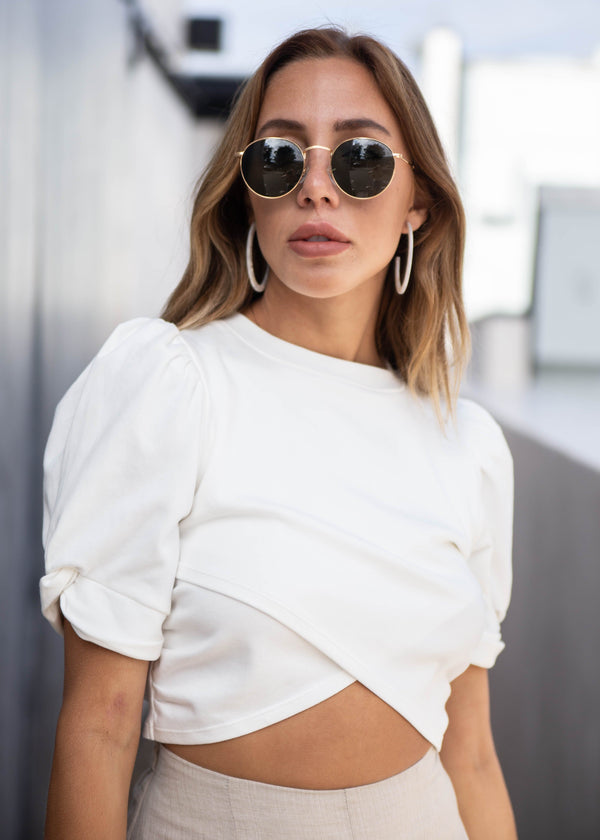 Wrap Front Twist Sleeve Crop Top