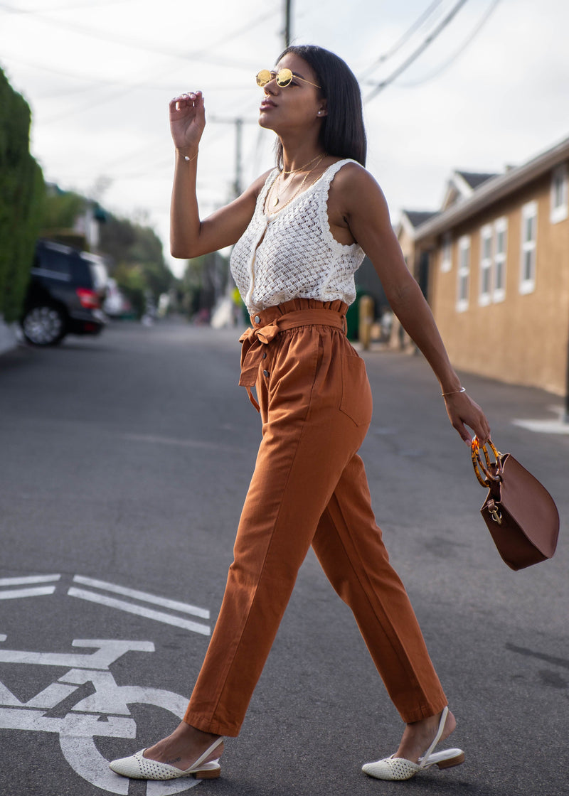 Button Fly Paper Bag Trousers - AMĒNAH