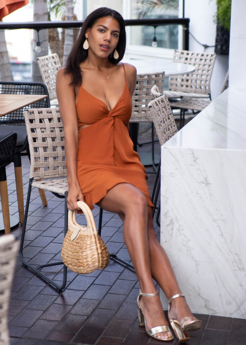 Satin Twist Cutout Mini Dress - AMĒNAH