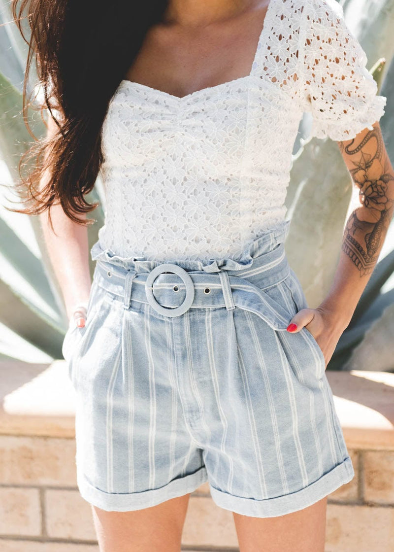 denim shorts, high rise denim shorts, summer shorts, jean shorts, striped shorts,