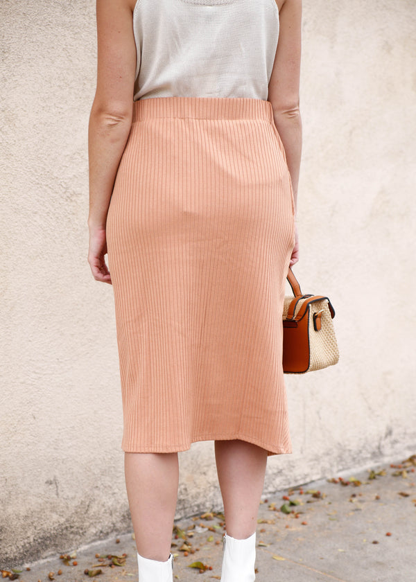 Resin Buckle Knit Midi Skirt - AMĒNAH