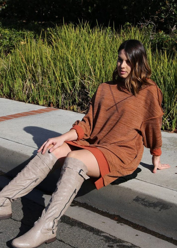 Oversized Reverse Sweatshirt Dress - AMĒNAH