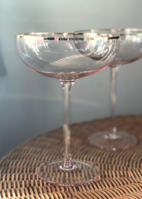 Gold Rim Pink Coupe Glass - Set of 2