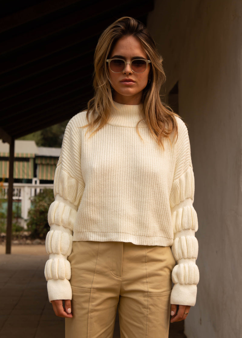 Donna Cropped Sweater - Ivory