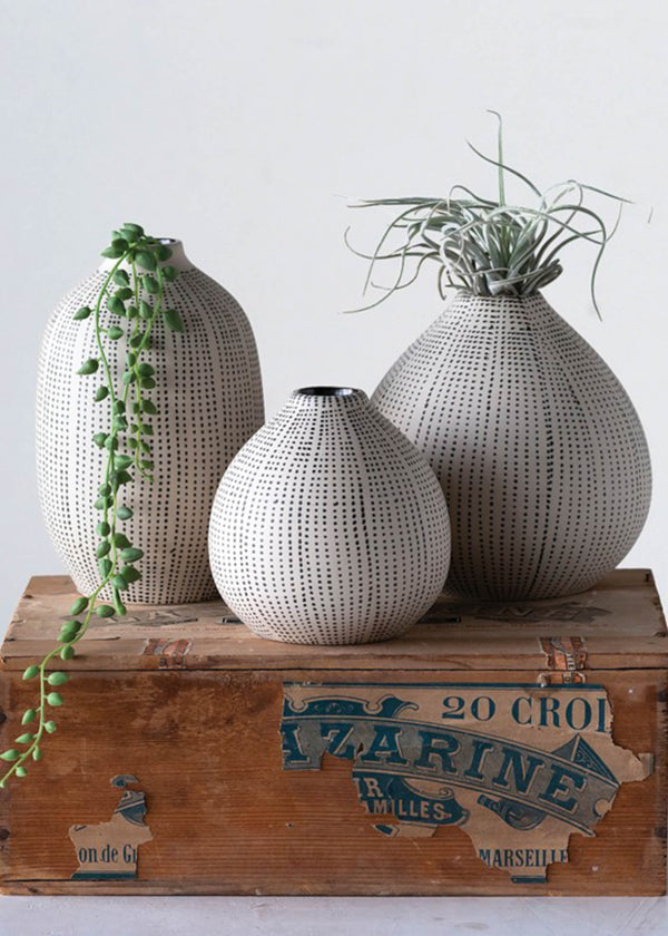 Stoneware Textured Vases - Set of 3