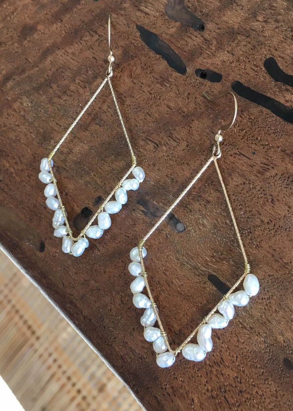 Pearl Wrapped Gold DropEarrings