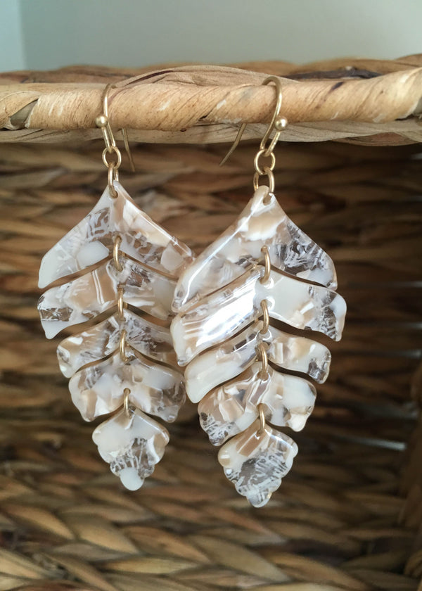 Marble Resin Leaf Drop Earrings