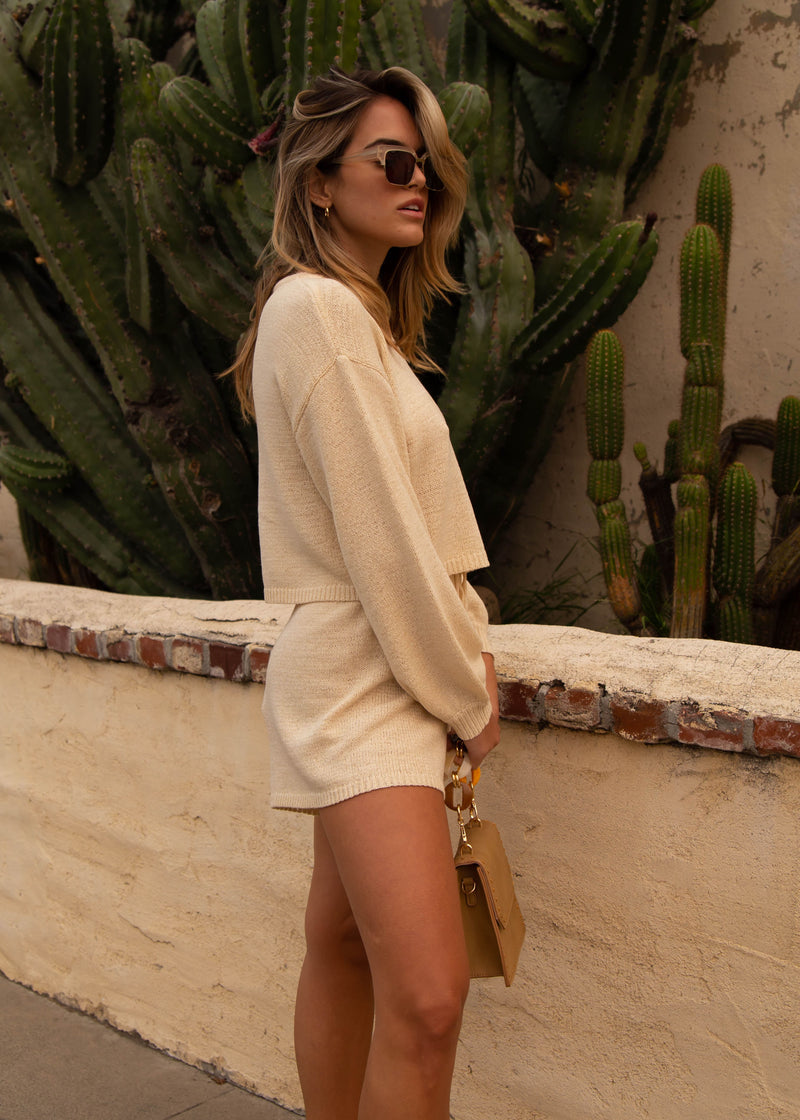 Egan Sweater Knit Short - Cream
