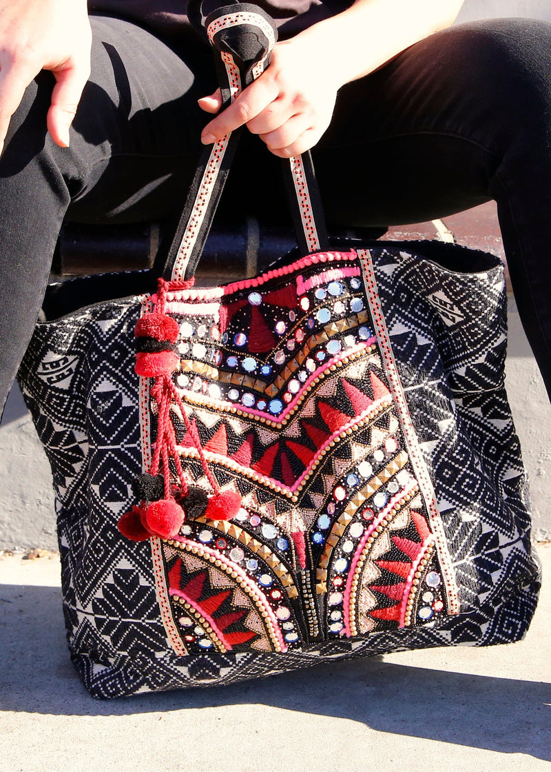 Embroidered Beaded Festival Tote - AMĒNAH