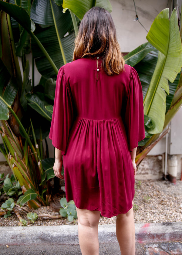 Embroidered Mock Neck Dress - Wine - AMĒNAH
