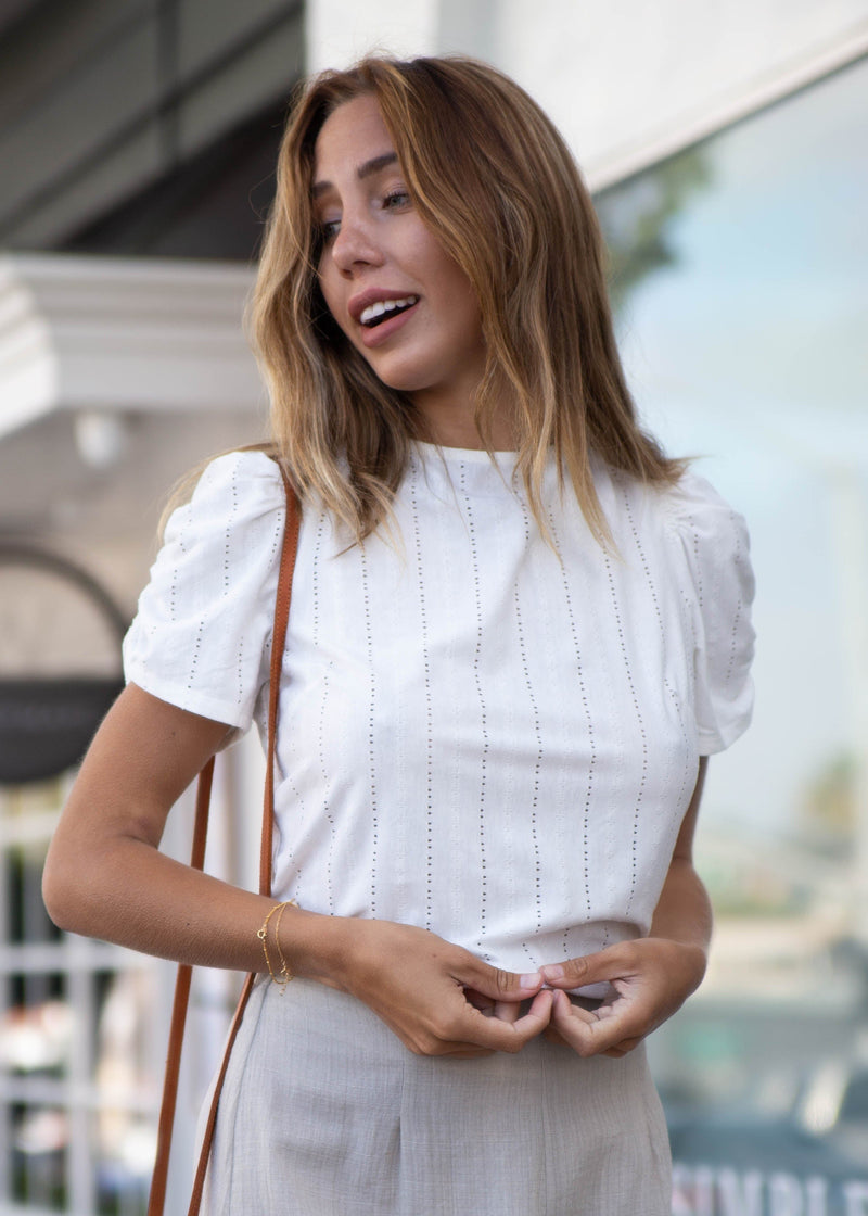 Open Back Embroidered Eyelet Blouse