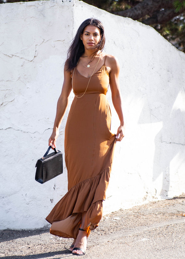 Satin Ruffle Hem Maxi Dress - Copper