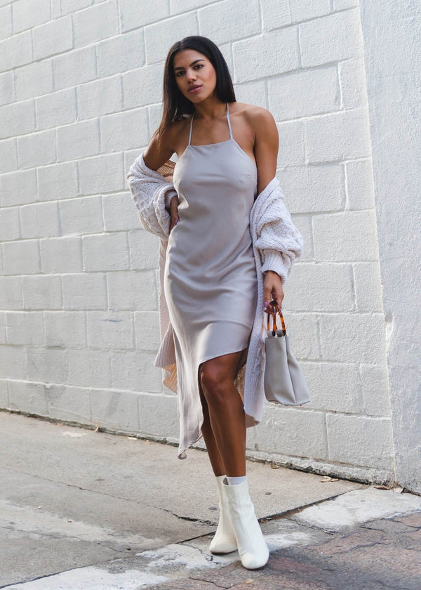 Asymmetrical Slip Dress - AMĒNAH
