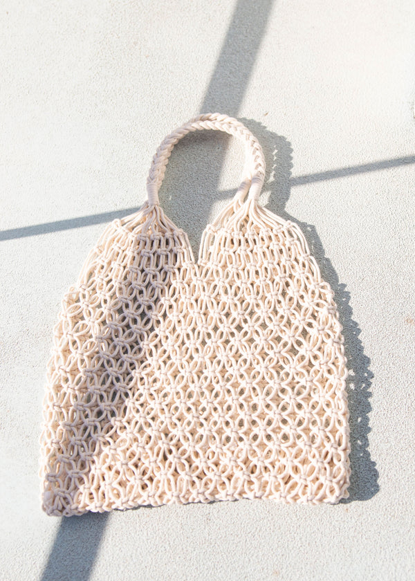 Cotton Weave Fisherman Tote - Ivory