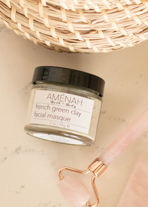 French Green Clay Face Mask - AMĒNAH