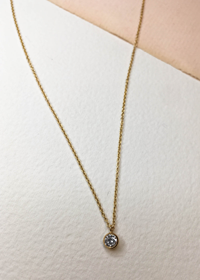 Cubic Zirconia Gold Filled Necklace - AMĒNAH