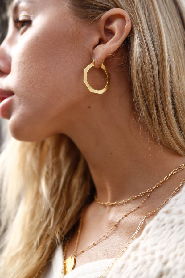 14K Gold Dipped Large Geometric Hoops - AMĒNAH