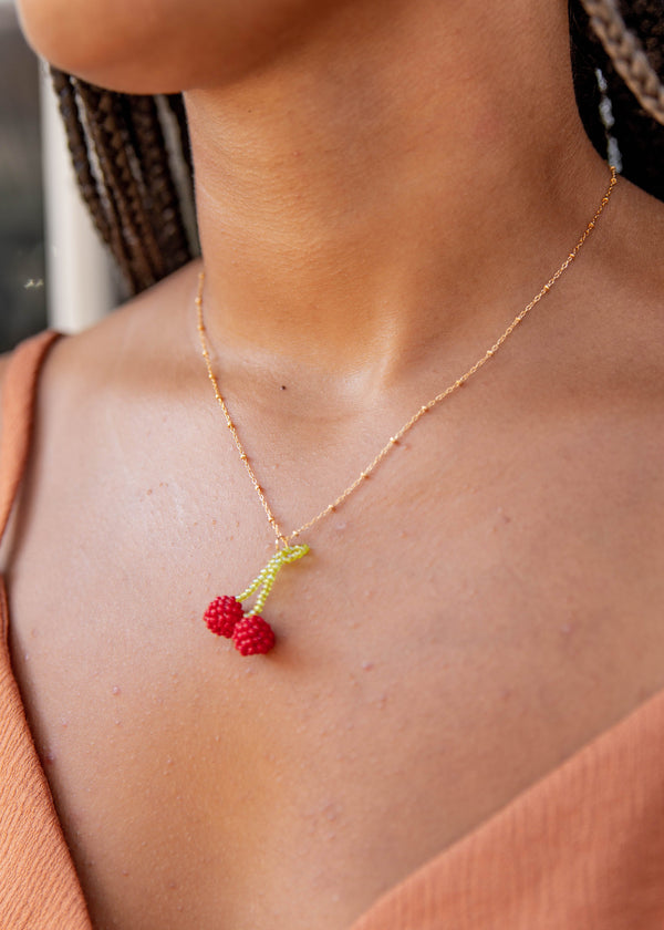 Beaded Cherry Gold Fill Necklace