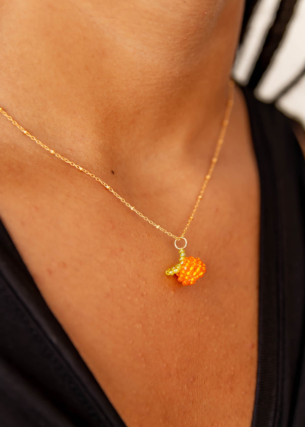 Beaded Orange Gold Fill Necklace