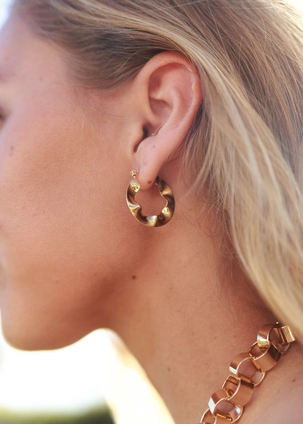 Gold Dipped Wavy Hoops