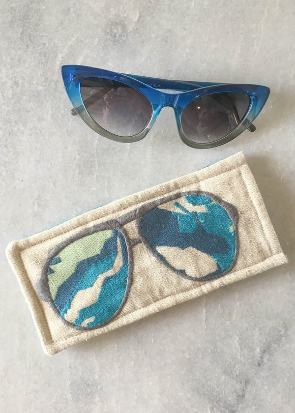 Embroidered Sunnies Case - Blue Marine - AMĒNAH
